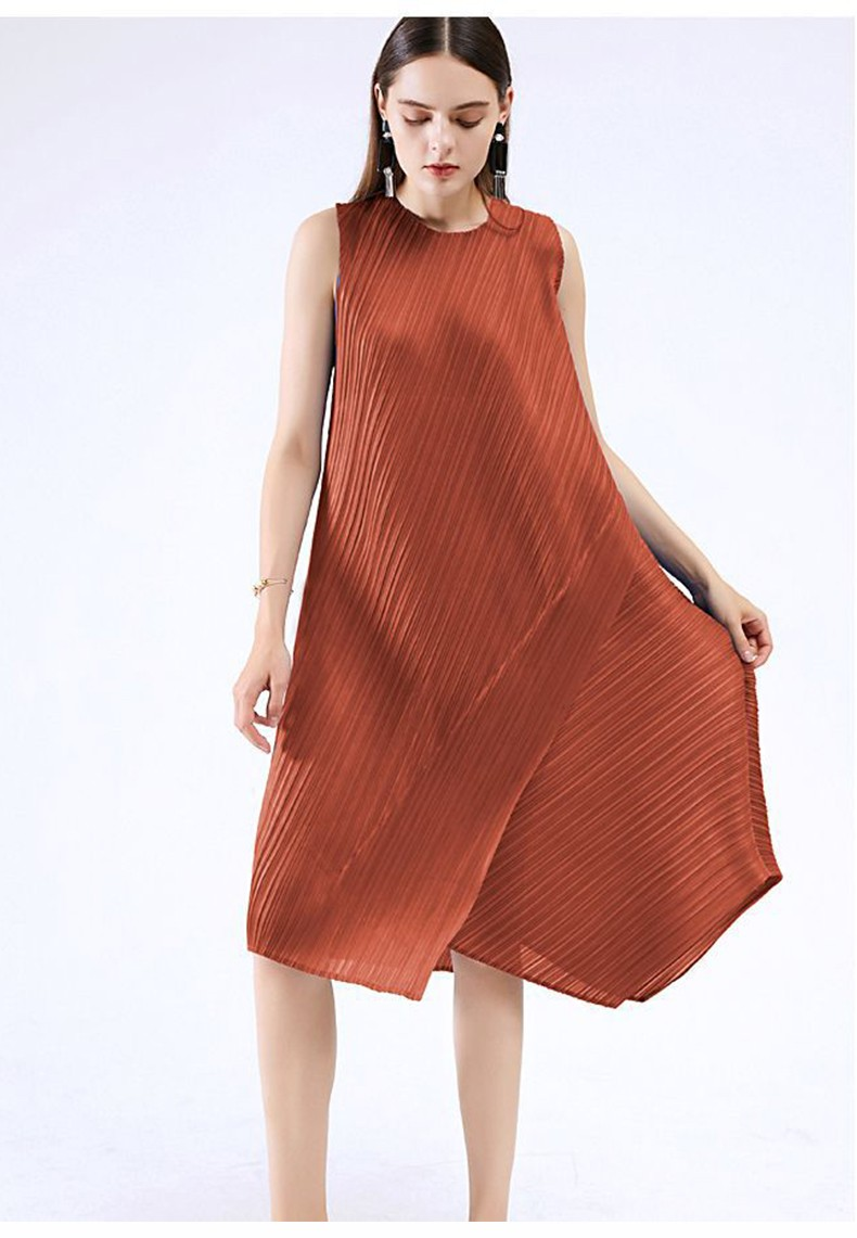 Pleated Ruched Fashion Casual Women Dress O-Neck Sleeveless Empire Summer Solid A-line Striped Elastic