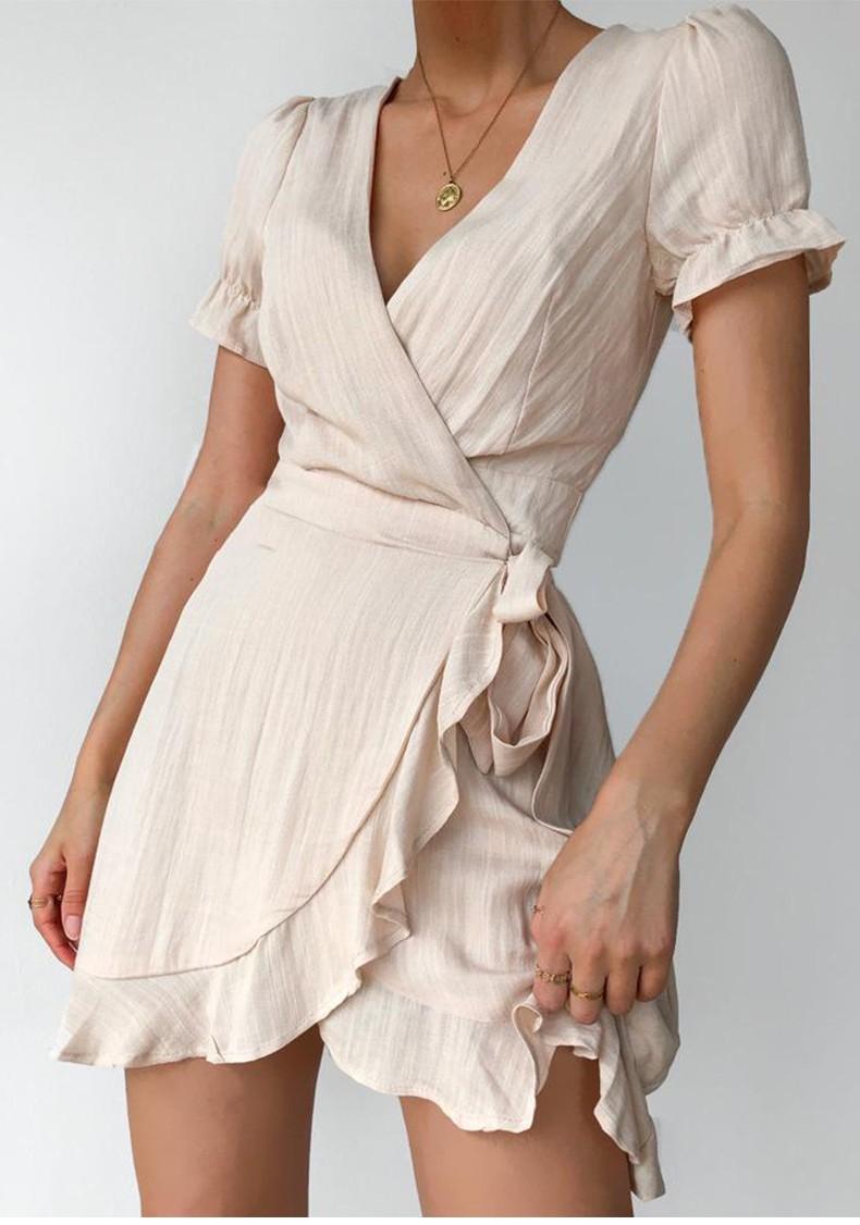 High quality Womens Ruffle Trim Jacquard V Neck Lace Up Wrap White Casual Dress
