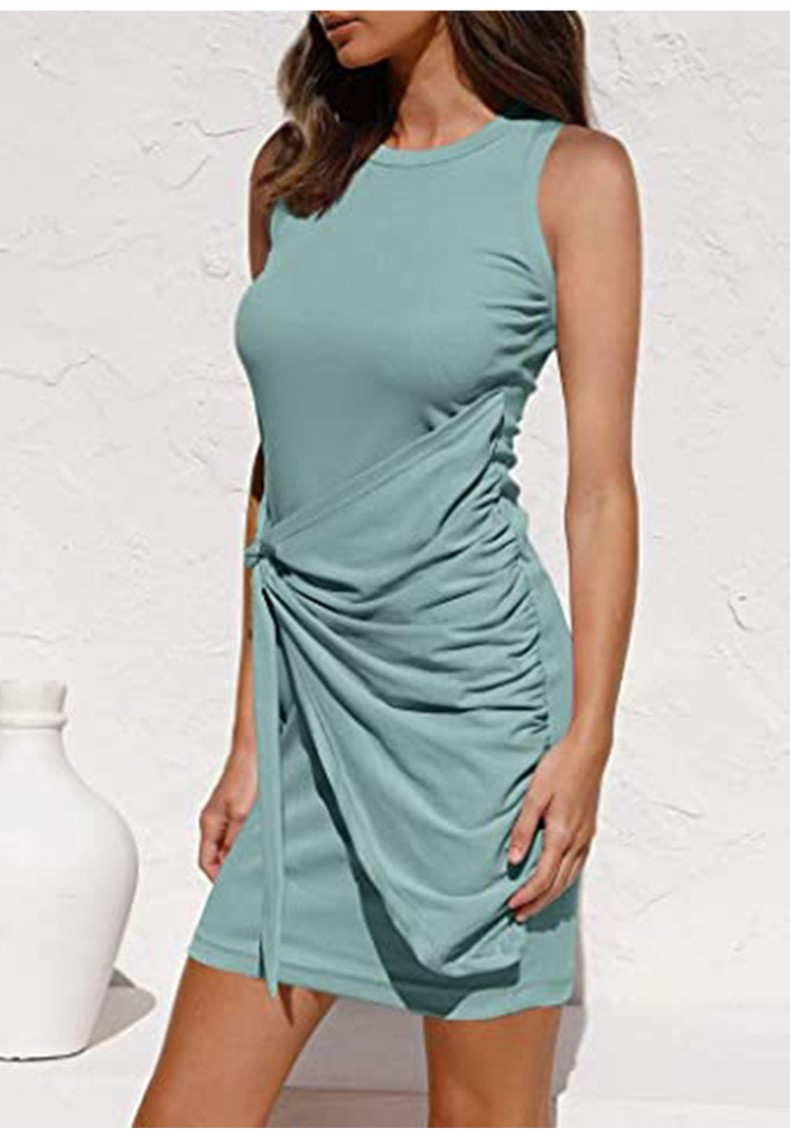 Women Sleeveless Bodycon Ruched Short Dress Solid Crew Neck Casual Summer Tank Shirt Mini Dresses