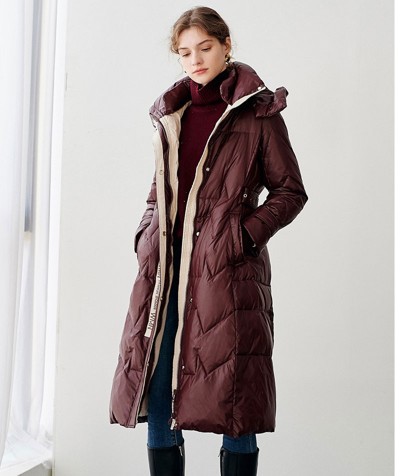 2021 Double-layer Pillow Collar Letter Women Cotton-padded Jacket Belt Autumn Winter Pockets Covered Button