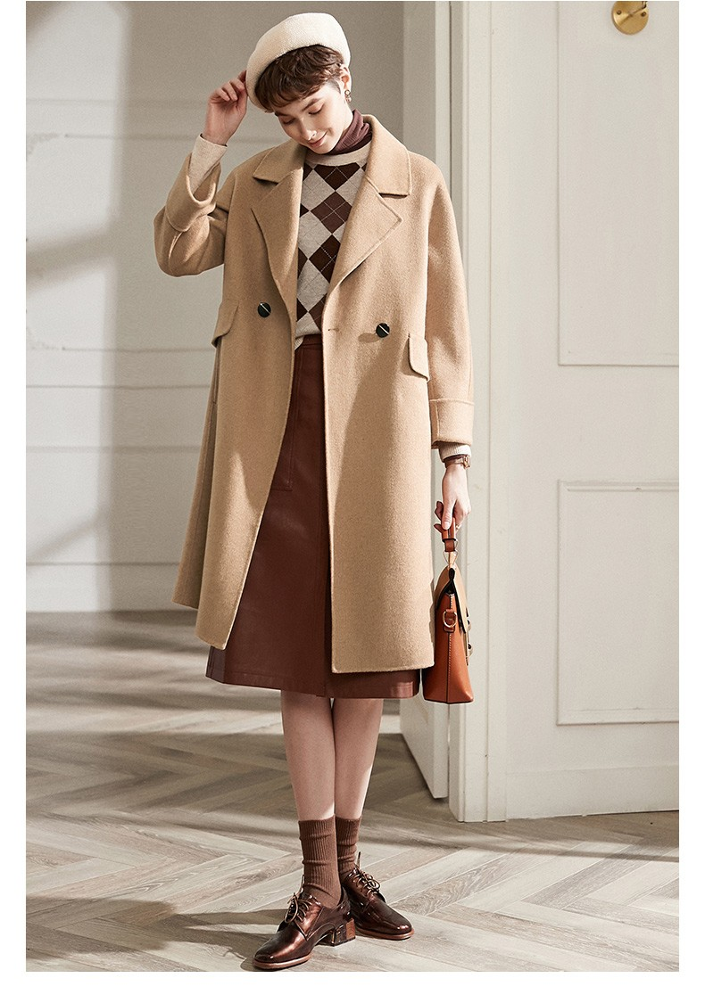 2021 Long Thick Nine Quarter Sleeve Women Coat Jacket Spring Fall Autumn Winter Solid Color Wool Pockets Turn-down Collar