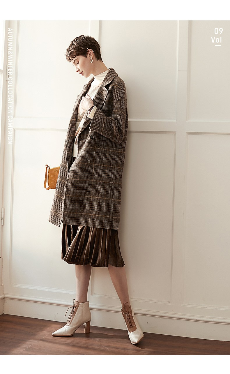 2021 Grid Plaid Style Long Sleeve Zipper Women Coat Jacket Autumn Winter Wool Pockets Casual Button Formal