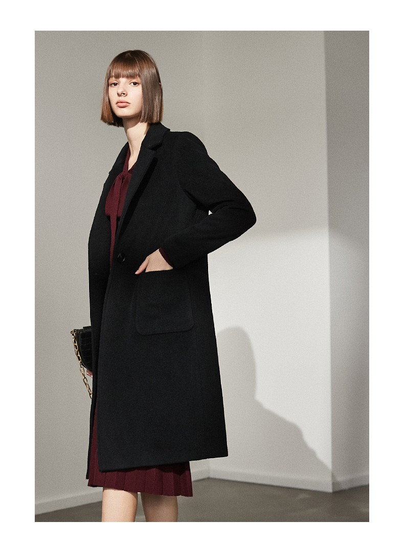 2021 Button Simple Pocket Long Sleeve Women Coat Jacket Autumn Winter Wool Casual Lady Formal Style Solid