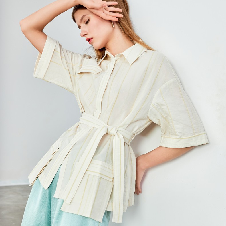 New Arrival Button Striped Sashed Short Sleeve Sweet Shirt Women Casual Blouse Spring 2021 Turn-down Collar