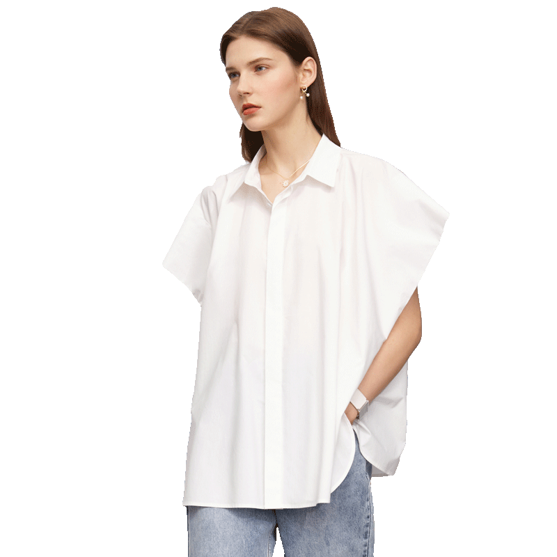 Slit Loose Wide Button Short Sleeve Sweet Shirt Women Casual Blouse Spring Solid Turn-down Collar