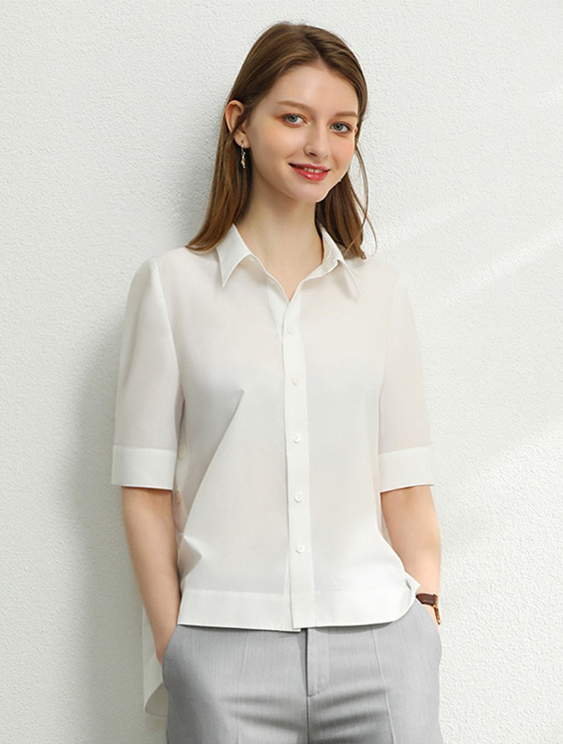 Single-breasted Loose Wide Button Half Sleeve Sweet Shirt Women Casual Blouse Spring Turn-down Collar