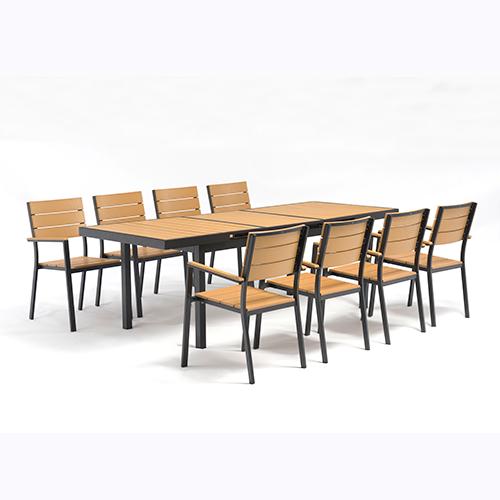Plastic wood extendable table set / Пластиковый деревянный удлиняемый набор таблиц