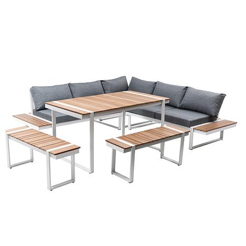 Plastic wood corner sofa set / Пластиковые деревянные угловые диван набор