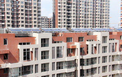 山西大同华北星城小区无动力太阳能热水系统