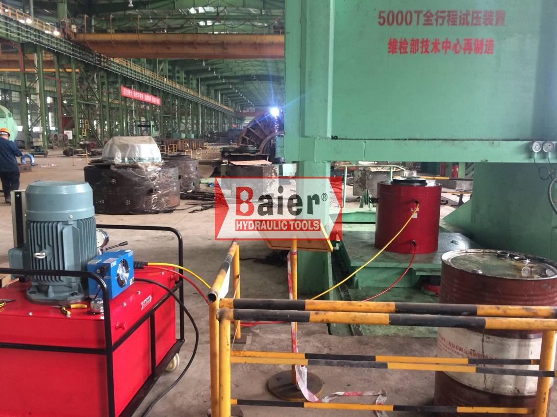 祝贺:拜尔1500吨双作用千斤顶通过重庆钢铁集团压力平台测试