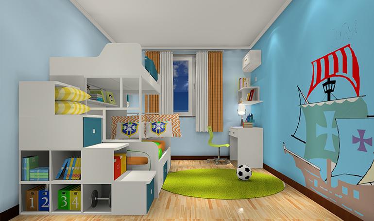 趣味儿童房<span class='EIMS_C_25_1_KeyWords' >上下床</span>设计效果图