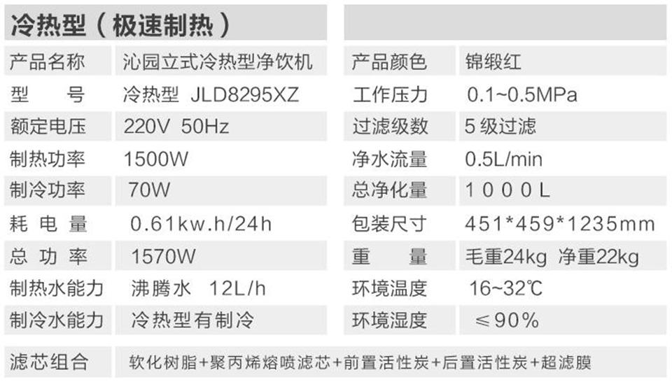 沁园直饮机超滤机-JLD8295XZ(红)