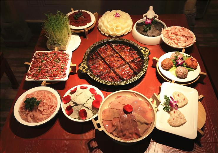 红汤锅底+菜品