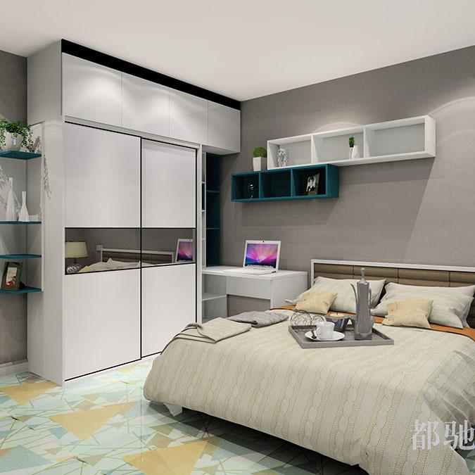 卧室效果图 整体衣柜书桌效果图组合