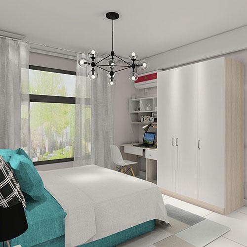 卧室平开门衣柜书桌整体效果图 简单实用