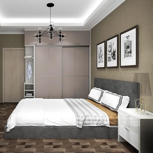 极简主义 高级灰卧室设计效果图