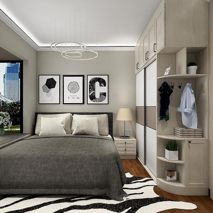 简约卧室衣柜贵效果图 高级灰 撞色搭配