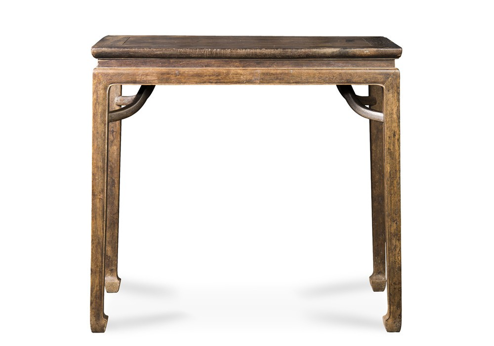 清 紫檀霸王枨马蹄腿半桌