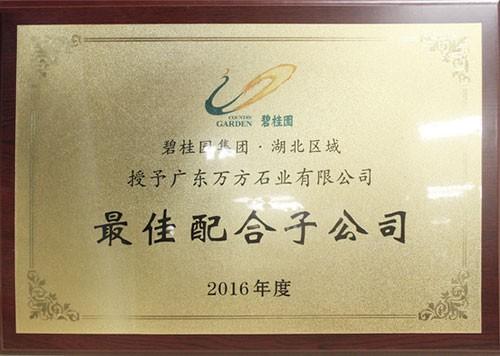 2016年度最佳配合子公司-碧桂园集团湖北区域
