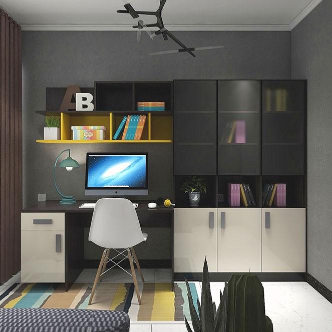 大气书房工作室效果图 整体书柜