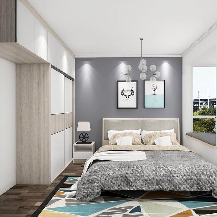 干净整洁卧室设计 一体到顶衣柜 超大储物空间