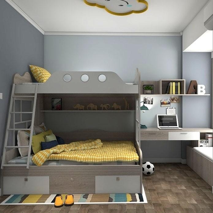 儿童房上下床+书桌 飘窗利用
