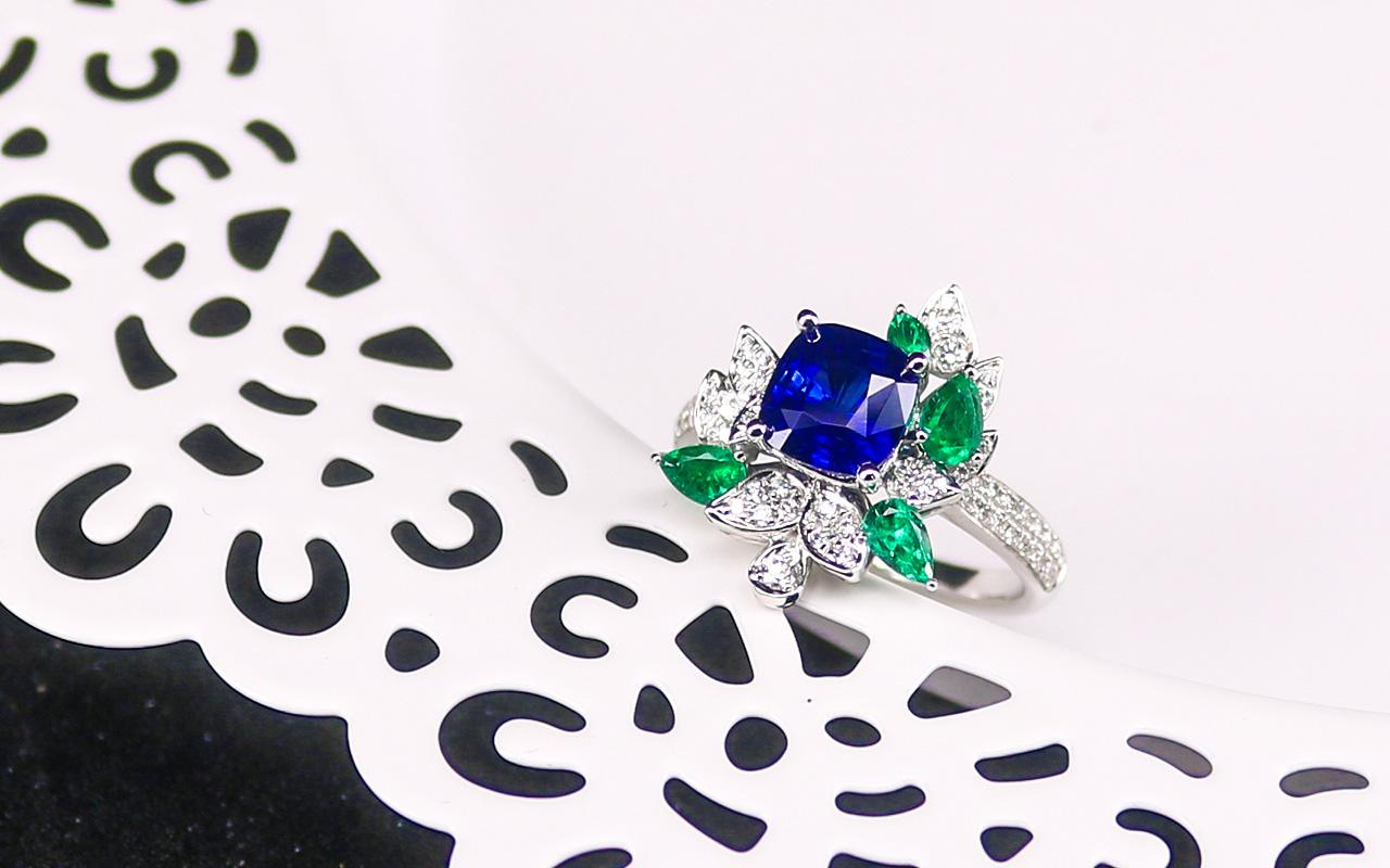 天然皇家蓝蓝宝石戒指L715