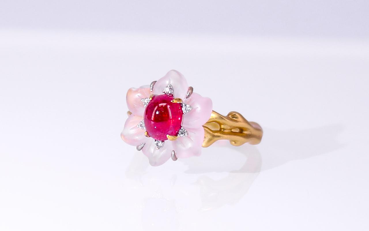 缅甸天然无烧红宝石戒指THR1143