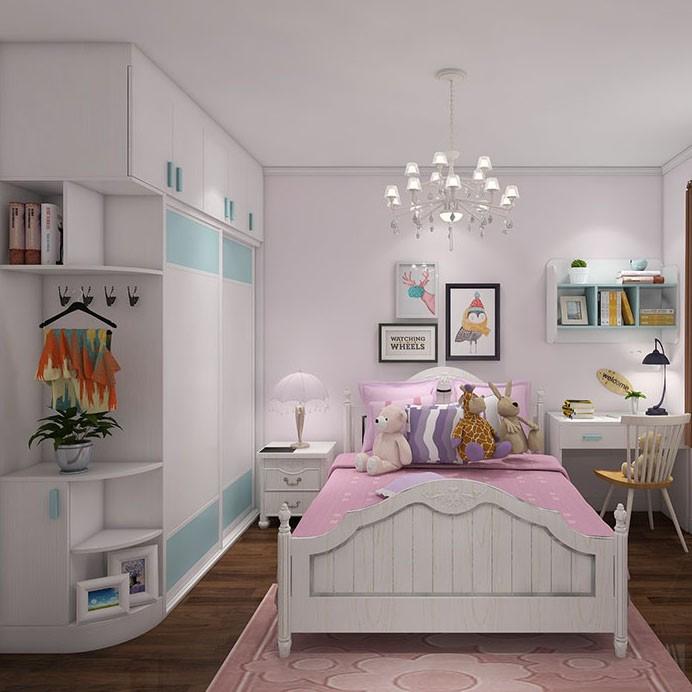 干净整洁 小清新儿童房 设计书桌 区域完美划分
