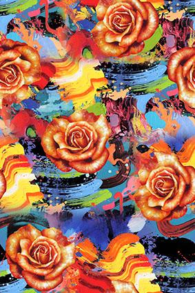 水彩绚丽油彩画花型