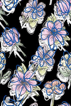 黑底手绘花简约轮廓花
