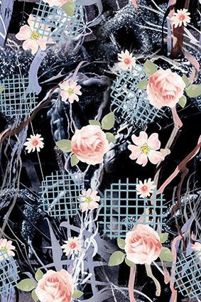 穿插乱线黑底手绘花朵