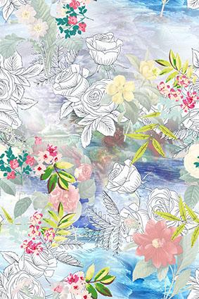 素描玫瑰绚丽花卉
