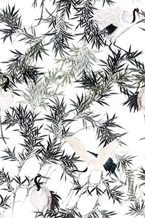 仙鹤水墨叠加树枝