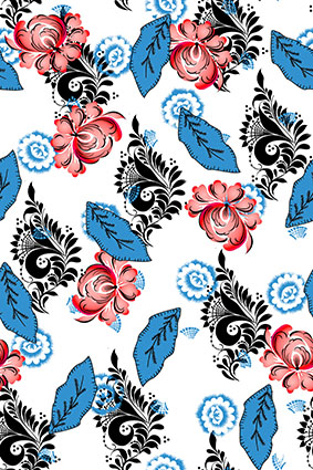 蓝色树叶矢量花卉