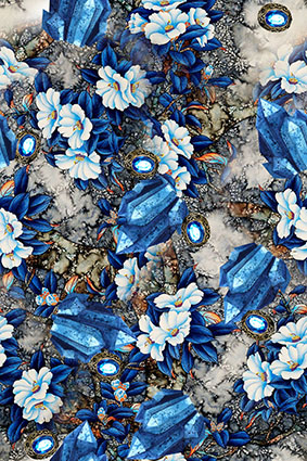 宝石戒指水晶洁白花卉