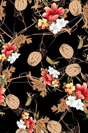 枯枝树叶娇艳花朵
