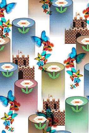 飞舞蝴蝶超级玛丽城堡图