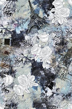 城堡铁塔素描花卉