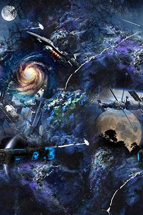 漩涡蓝底星空太空船