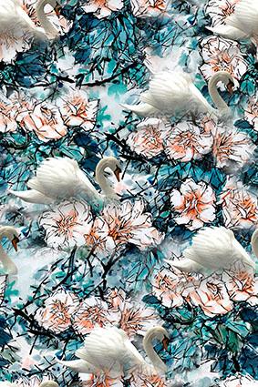缭乱枝叶花卉仙鹤采蜜