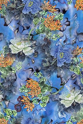 蓝色水彩牡丹花卉图饰