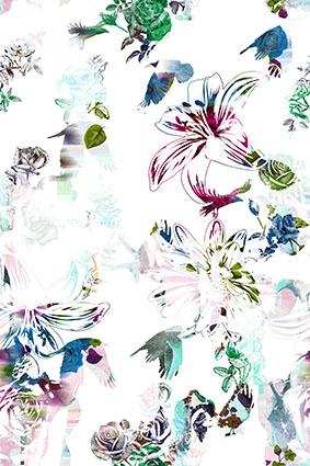 绿色枝叶散花装饰花