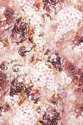 雕饰复古花纹渲染图案