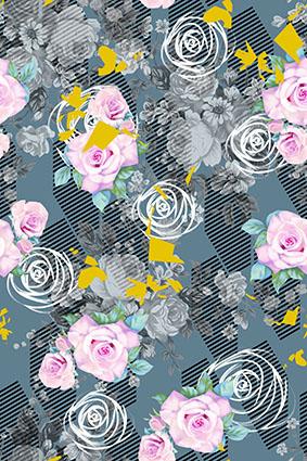 几何斜线炫彩流行花型