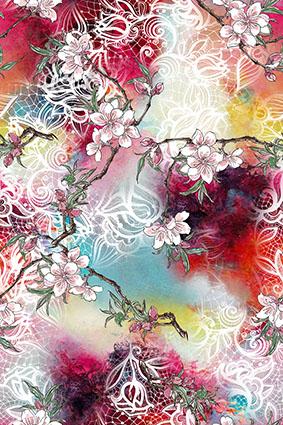 水彩底白色花边盛开花朵