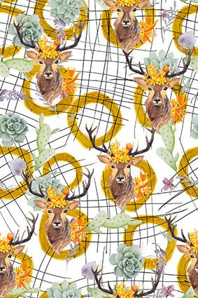 乱线黄圈手绘迷花鹿