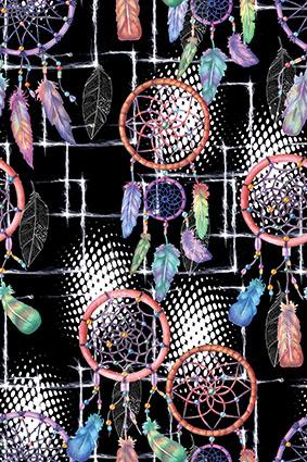 编织圆窗绚丽羽毛装饰花型