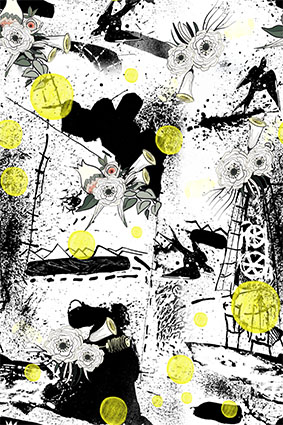 黑色磨砂涂鸦艺术图案