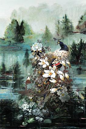 水彩渲染湖边孔雀花
